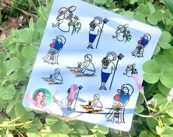 Gardening, Gardener with flowers and herbs, potted plants, and outside garden functional planner stickers