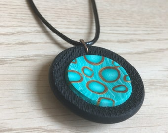 Black and aqua 3D polymer clay pendant / necklace, handmade
