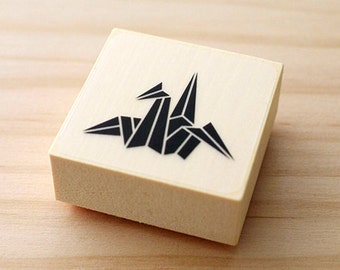 CLEARANCE SALE - Rubber stamp - Crane of the origami - The left direction