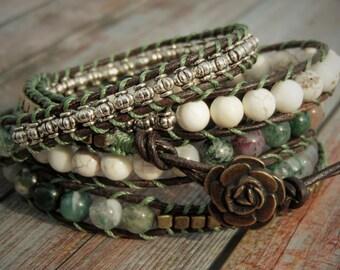 Earthy Green 5 Wrap Bracelet, Nature Bracelet, Jasper Stone, Beaded Bracelet, Green Jasper Bracelet, Boho Bracelet, Leather Wrap Bracelet