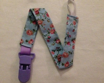 Blue Floral Dummy Clip with Purple Clip