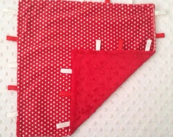 Red with White Spots Comfort Tag Blanket