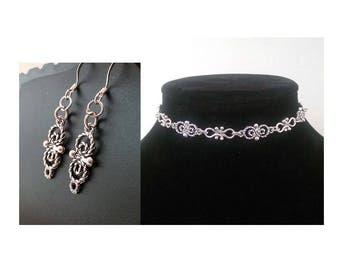 Silver Choker Necklace Set, Earring Set, Wife Jewelry Ideas, Boho Jewelry Wife, Silver Jewelry Choker Set, Jewelry Sets, Choker Earring Set