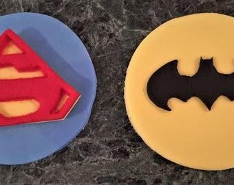 12 Super Hero Edible Cupcake Toppers