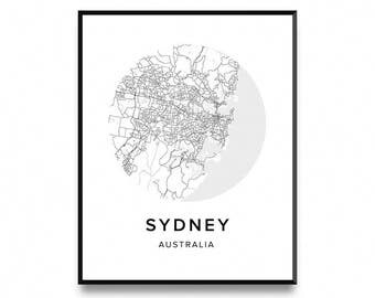 Sydney Map Poster, Map of Sydney Poster, Sydney Map, Sydney Print, Map Poster, Map Print, Printable Art, Art Print