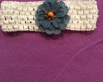 New Girls Baby Toddler White Headband Denim Flower. Handcrafted.