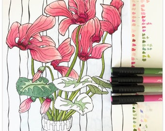 Printable Carefree Cyclamens Colouring Page