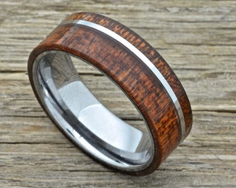 Men's Tungsten Koa Wood Ring, 8mm Wide Comfort Fit Wedding Band Flat Top Design