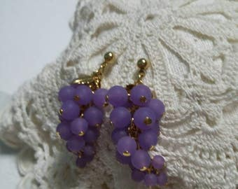 Grape cluster and leaves dangling post earrings