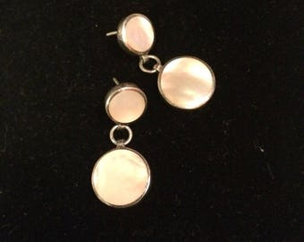 Sterling and Mother of Pearl Dangle  Post Earrings Marked 925574 Thailand