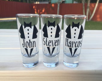 Personalized Groomsmen Shot Glasses (2oz)| Groomsmen Gift | Father's Day Gift