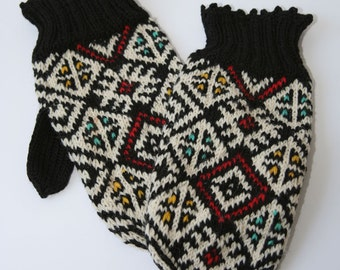 Traditional Mittens, Fair Trade Mittens, Knit Wool Mittens, Knitted Mittens, Handmade Mittens, Two Needle Mittens, Hand Knit Mittens,Mittens