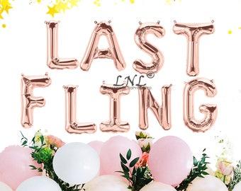 Rose Gold LAST FLING balloons - gold silver Mylar foil letter balloon banner kit, gold balloons, wedding, hen party, rose gold balloons