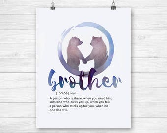 Brother gift funny definition prints download poster - bear brothers gift idea instant download - printable brothers birthday gift