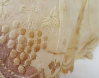 Reserved for Jane On Sale - Antique Handmade Lace Embroidery Long Sleeves Sheer Wedding Fashion