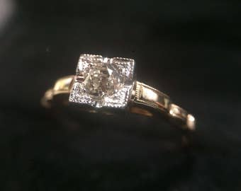 Antique 14k and 0.30 ct Old Cut Diamond Engagement Ring sz 6.75