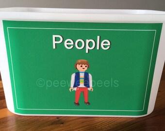 Playmobil toy storage, toy bin labels, decals for toy bins, adhesive labels for toy storage, organizing toys labels, toy storage