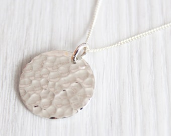 925 Sterling Silver Hammered Disc Necklace with Personalised Engraving, Includes Gift Box & Free Shipping