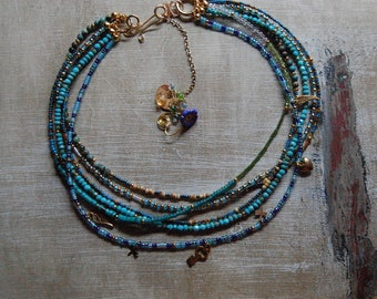 Nice Turquoise, Quartz Crystal, Peridot and 24 kt Gold seed beed Multi layered Necklace