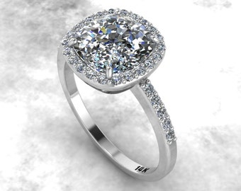 Cushion Moissanite Engagement Ring 14K White Gold Forever Brilliant Bridal Diamond Halo Ring