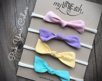 Baby Bow Headbands, Pick Your Color Bows, Small Baby Bows, Newborn Baby Bows, Newborn Baby Headbands, Nylon Headbands, Simple Baby Bows