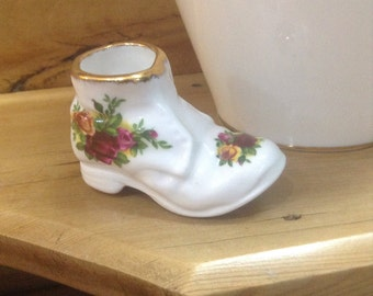 Miniture china boot by Royal albert in Old Country Roses