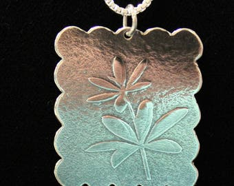 Sterling Silver Flower Pendant // Decorative Scallop Edge //