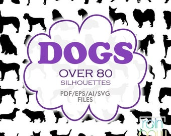 Dog Svg Files, Dog Silhouette Svg, Dog Clipart, Dog Illustration, Pet Svg, Hound Dog Silhouette, Pet Silhouette, Pets Clipart, Animal EPS