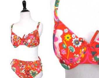 Vintge 1960's Flower Power Bikini - Size M