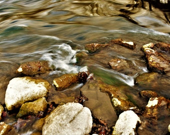 Rocky River - Flowing Water, Nature photography, Earth Tones, River Photography