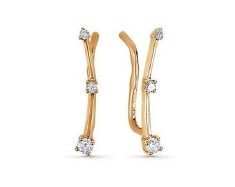 14K gold CZ diamonds Cuff earrings,14K rose gold lab diamonds earrings,diamonds earrings,14K gold cuff minimalist  earrings