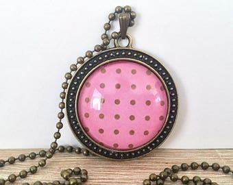 Pink Polka Dot Glass Pendant Necklace