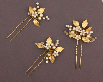 Gold Leaf Hair Pins Set of 3 Crystal Hair pins Bridal Hair Pins Pearl Hair pin Bridal hair clip Bridal bobby pins Floral Hair pins Leaf Vine