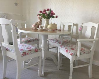 Farmhouse Table And Chairs, NOW SOLD Shabby Chic  Kitchen Dining Table Set, Dining Room Table Set, Painted Furniture.