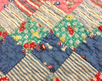 Vintage 1930s Feedsack Hand Stiched Quilt