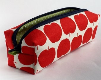 """Pencil case """"Apple"""" pencil case cosmetic bag Apple organic fabric of Red canvas"""