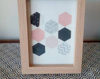 Pink, grey and black hexagon handmade picture