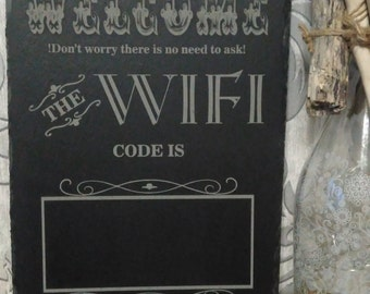 Slate engraved WiFi plaque
