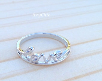 Love Ring in Silver, Couple Ring, Valentine Ring