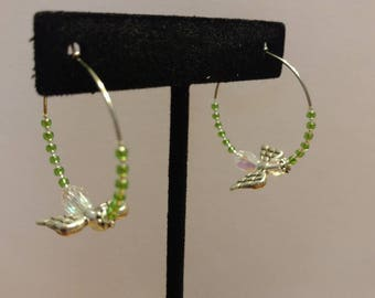 Green Japanese Glass Seed Bead and Czech Glass, Stainless Steel Hoop Earrings with Angel Element