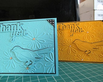 Three Dimensional Floral/Bird Thank You Cards