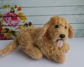 Felted dog  Needlefelted Labradoodle  Puppy Handmade Wool Miniature OOAK Original gift