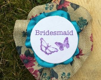 Handmade Floral Burlap Rosette Badge