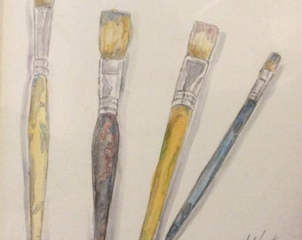 Four old paintbrushes watercolour painting