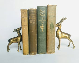 Green books, book decor, set of green books, to have and to hold, red rock, bookshelf decor, gold lettering books, home decor books