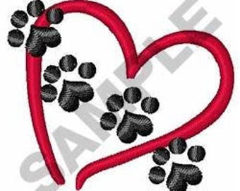 Pet Paw Heart - Machine Embroidery Design