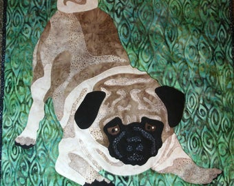 Pug pattern for 18x18 wall hanging or pillow