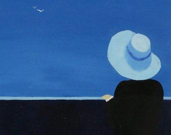 Waiting | Original Minimalist Oil Painting on Canvas 16inX20in