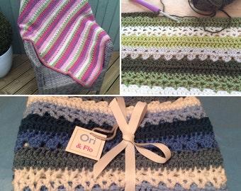 Striped baby blanket, Crochet Baby Blanket, pink baby blanket, blue baby blanket, neutral baby blanket, green baby blanket, baby shower gift