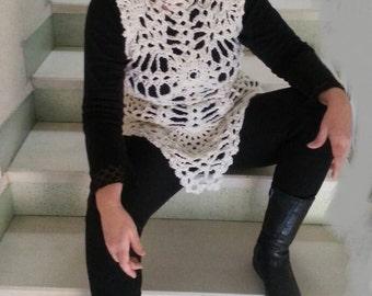 lace sleeveless sweater-white